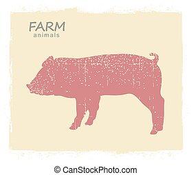 Pig Farm animal silhouette. Vector vintage symbol pig on old paper background