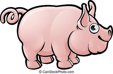 Pig Farm Animals Cartoon Character