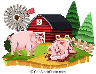 Pig farm cartoon character on white background