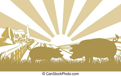 An illustration of a farm house thatched cottage in an idyllic landscape of rolling hills with two pigs in silhouette standing in the foreground