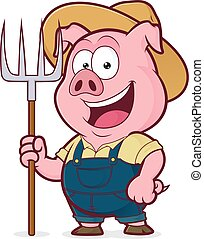 Pig farmer holding a rake