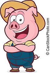 Pig farmer with folded hands - Clipart picture of a pig...