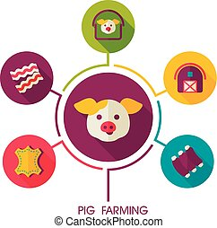 Pig farming icon and agriculture infographics