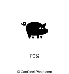 Pig flat vector icon
