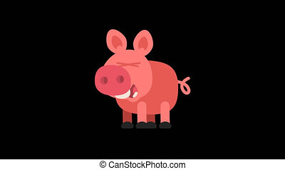 Pig Funny Animal Character Chinese Horoscope. Motion...