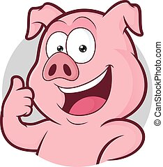 Pig giving thumbs up in round frame - Clipart picture of a...