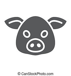 Pig glyph icon, animal and, pork sign vector graphics, a...