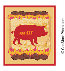Pig Grunge poster - Grill Menu Card Design template.
