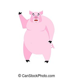 Pig happy Emoji. piggy merry emotion on white background. Farm animal