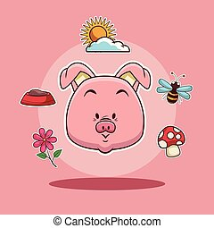 Pig head cartoon