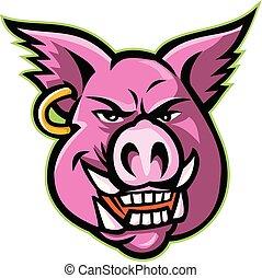 pig-head-EARRING-MASCOT - Mascot icon illustration of head...