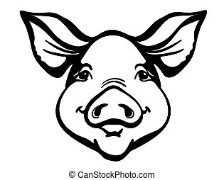 Pig head Farm animal. Vector black graphic illustration isolated on white.