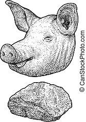 Pig head illustration, drawing, engraving, ink, line art, vector