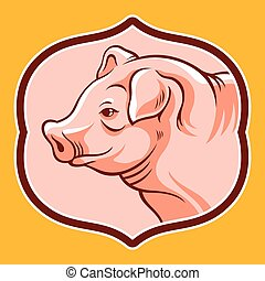Pig head in frame. Vector cartoon illustration