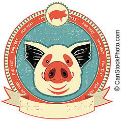 Pig head label on old paper texture. Vintage style