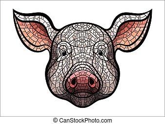 Pig head mascot