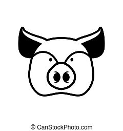 Pig head sign. piggy snout symbol. Farm animal