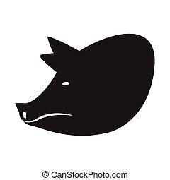 Pig head silhouette