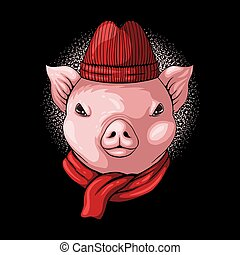 Pig head wear beanie and scarf vector illustration for your ...