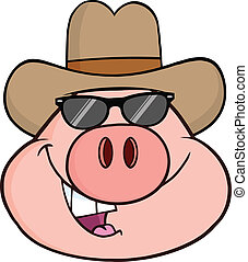 Pig Head With Cowboy Hat - Pig Head Cartoon Character With...