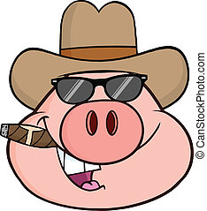 Pig Head With Sunglasses - Pig Head Cartoon Character With...
