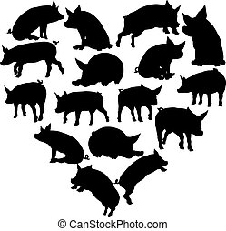 Pig Heart Silhouette Concept - A pig heart silhouette...