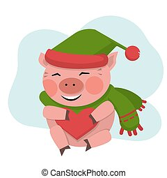 Pig hold the red heart in green hat