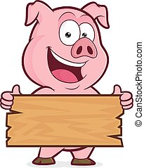 Pig holding a plank of wood - Clipart picture of a pig...