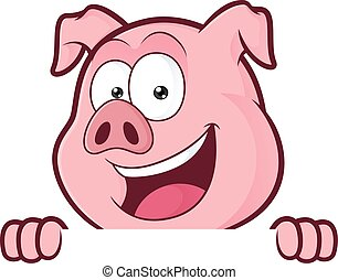 Pig holding and looking over a blank sign board