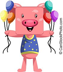 Pig holding balloons, illustration, vector on white background.