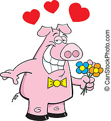 Pig holding flowers