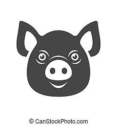 Pig Icon. Dark Logo on White Background. Vector