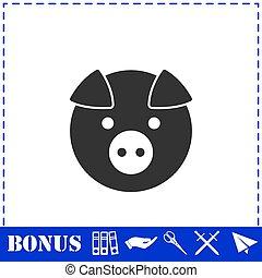 Pig icon flat