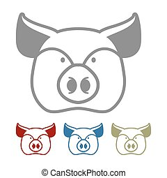 Pig icon flat style. Head farm animal stencil. Cute pork