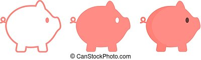 Pig icon in outline, logo, flat style.
