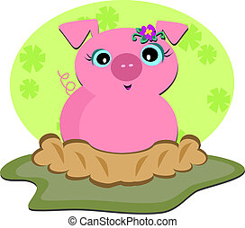 Here is a cute pink Pig wallowing in a mud ditch.