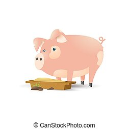 Pig in cartoon style on pink background. Vector background. Cartoon vector illustration. Cartoon style. Vector template. Decoration element. Pig farm. Cute cartoon pig illustration.