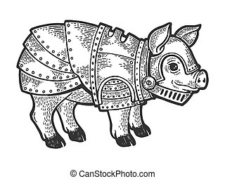 Pig in knight armor sketch engraving vector illustration. Scratch board style imitation. Black and white hand drawn image.