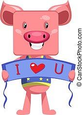 Pig in love, illustration, vector on white background.