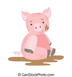 Pig In Mud Cute Toy Animal With Detailed Elements Part Of...