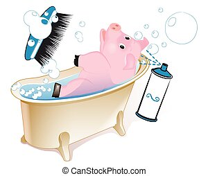 Pig in the bathroom - Swimming pigs. Muddy pig in the...
