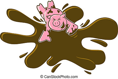 Pig in the Mud Cartoon - A happy pink pig rolls in the mud