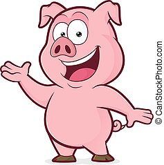 Pig in welcoming gesture - Clipart picture of a pig cartoon...