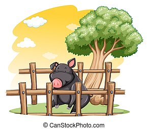 Pig inside the fence - Pig inside the wooden fence on a...