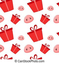 Pig is a symbol of 2019 new year. Seamless pattern with cute pigs noses and present. Flat design, vector illustration.