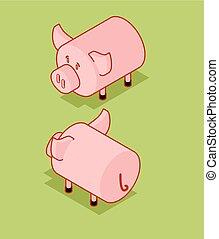 Pig isometric style. Piggy isometry Farm animal. Vector illustration