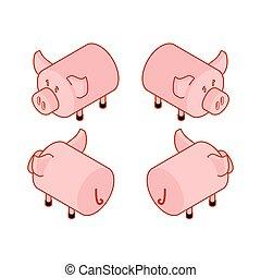 Pig isometric style set. Piggy isometry Farm animal. Vector illustration