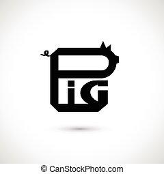 Pig label, vector illustration