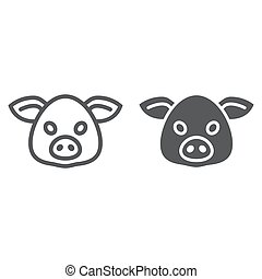 Pig line and glyph icon, animal and, pork sign vector...
