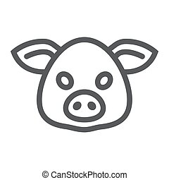 Pig line icon, animal and zoo, pork sign vector graphics, a...